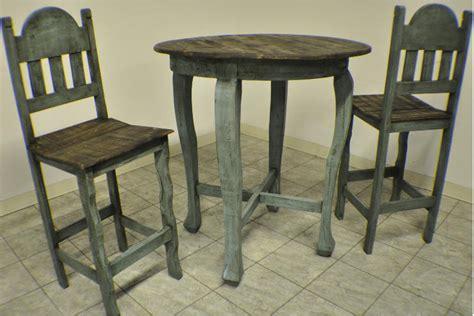Distressed Bistro Table 3pc Rustic Pine Aqua Distressed Pub Table Set Ebay