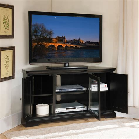 tv stands leick black hardwood corner tv stand 56 inch kitchen dining