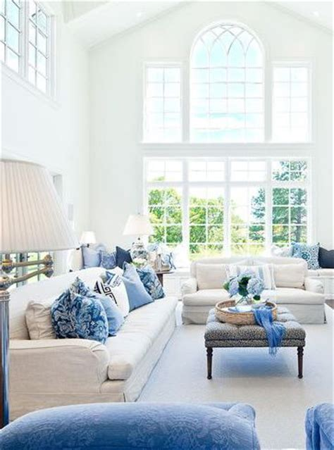 blue and white living room light airy blue and white living room by markay johnson
