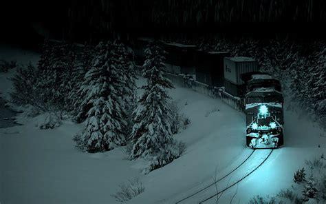 train   winter night   wallpapers