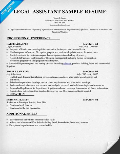 paralegal resume sample writing tips resume companion