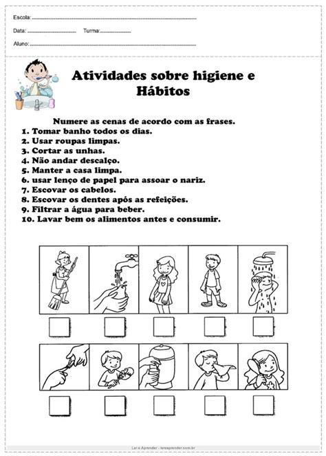 Atividades sobre higiene e Hábitos - Para imprimir - Ler e