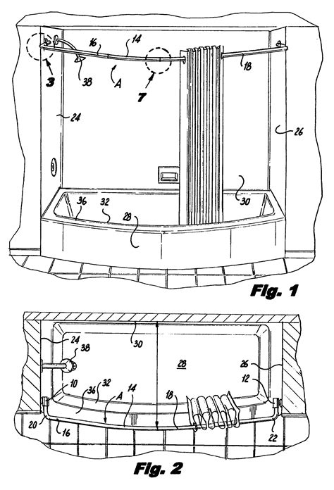 curtain rod assembly patent us7926127 curved shower curtain rod assembly
