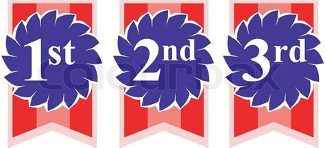 1st Ans Second Mba by Illustration Of Rosette Award Ribbons With Numbers 1st 2nd