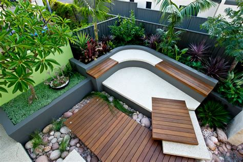 curved outdoor seating landscape tropical with australian