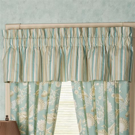 gathered curtains natural shells gathered valance aqua 80 x 15 touch of class