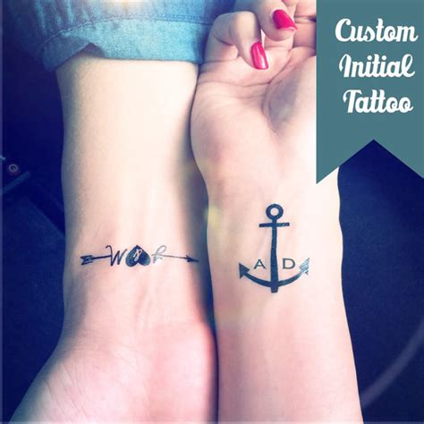 set of 2 custom initial anchor temporary tattoo by inknart