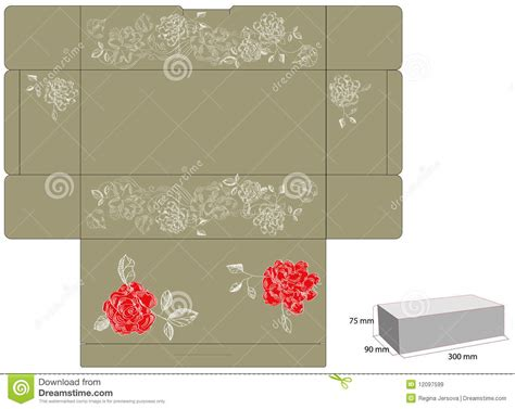 box die cut template template for gift box with die cut royalty free stock