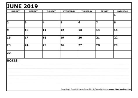 blank june  calendar  printable format