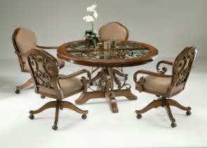 Piece dinette set with caster chairs cherry finish pastel