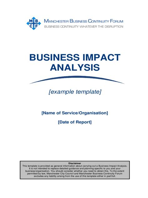 business impact analysis plan template business impact analysis template 5 free templates in
