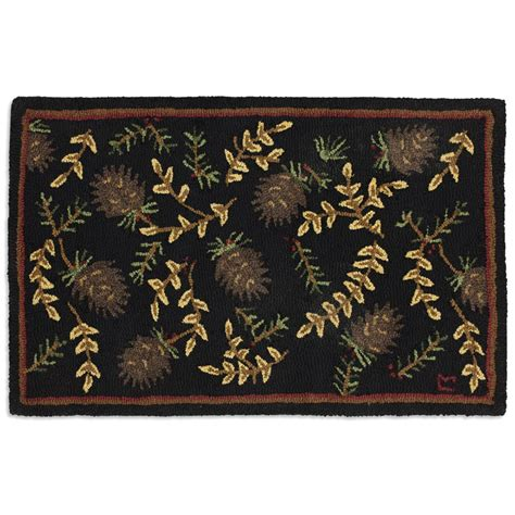willows cones hooked wool accent rug