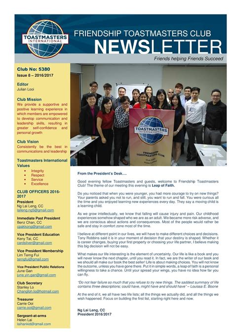 club newsletter templates friendship toastmasters club newsletter issue 8 2016 2017