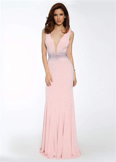 light pink evening gown v back beaded light pink jersey evening gown