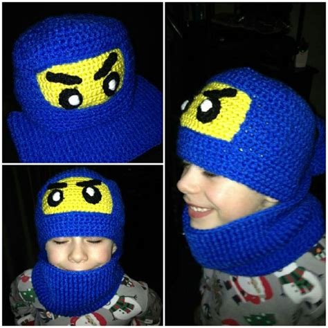 ninjago pattern lego ninjago crochet hat and neck warmer childrens