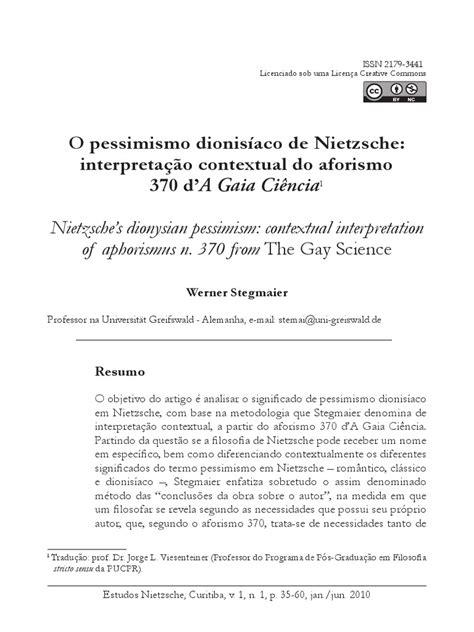 Werner Stegmaier - O pessimismo dionisíaco de Nietzsche