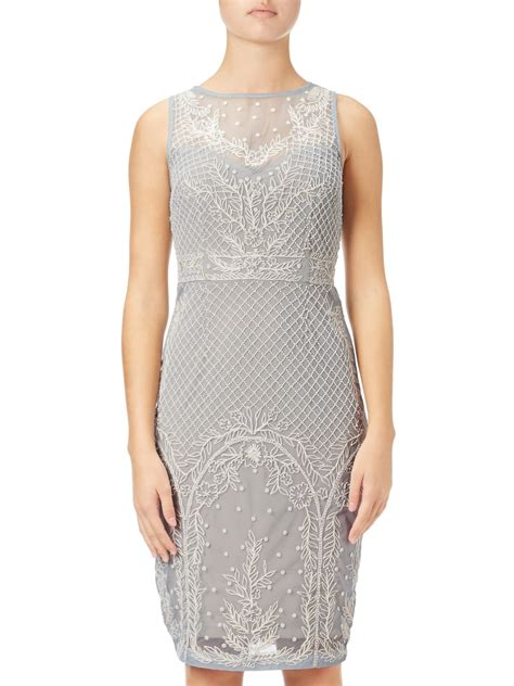 beaded illusion cocktail dress papell beaded illusion cocktail dress blue