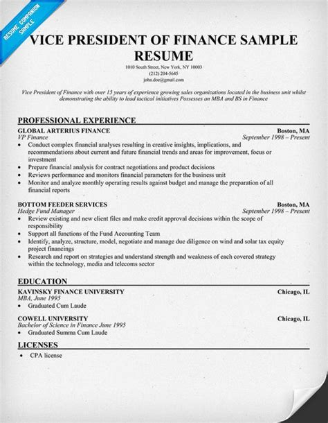 Resume Objective Vice President Position Vice President Of Finance Resume Finances Finance Resume And Presidents