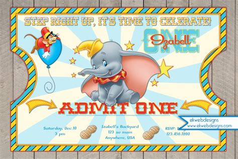Dumbo Circus Ticket Style Birthday Invitations Dumbo Invitation Dumbo Invitation Template