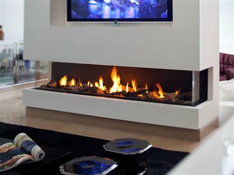 gas fireplace with panoramic glass panorama 150 by