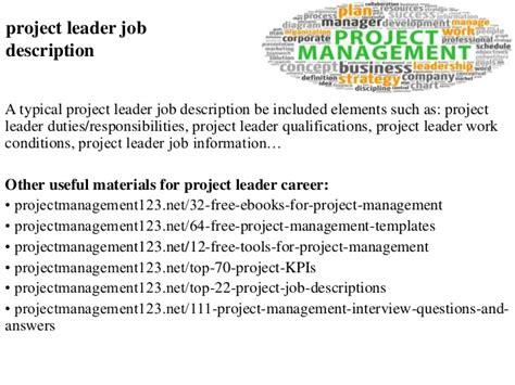 Project Leader Job Description Project Leader Description Template