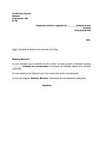 exemple gratuit de lettre demande dossier garantie loca pass