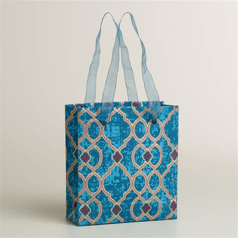 Handmade Craft Bags - mini blue geo and peacock handmade gift bags set of 2