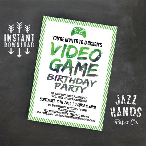 Printable Video Game Birthday Invitation Template Diy Gaming Invitation Template