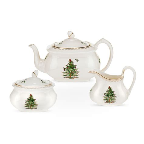 spode christmas tree gold tea set teapot sugar