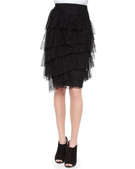 burberry tiered lace pencil skirt black
