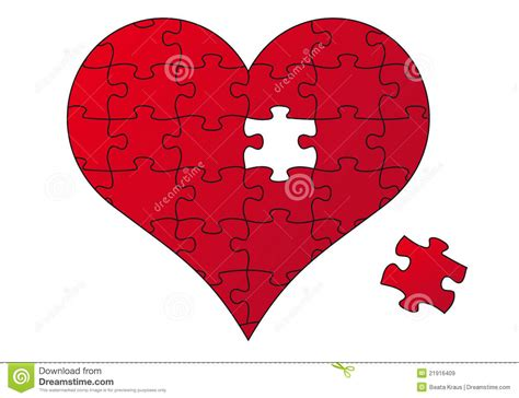 red puzzle heart vector stock vector illustration of
