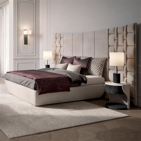 contemporary italian bed with large luxury leather