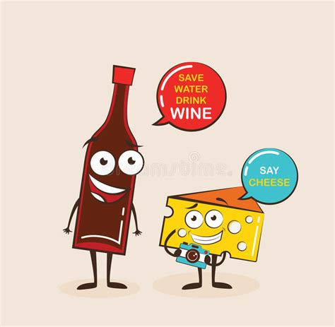 cartoon wine and cheese vector cartoons of comic characters bottle of wine and