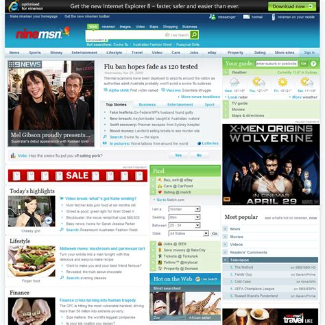 msn com ninemsn hotmail messenger news sport celebrity