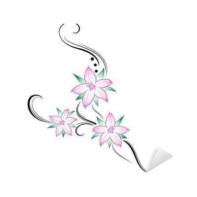 fiori di ciliegio stilizzati fiori di ciliegio stilizzati tatuaggio sticker pixers