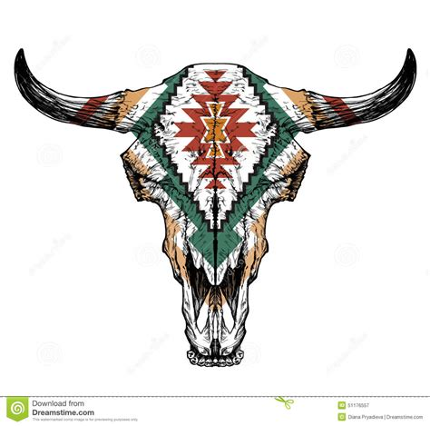 bull auroch skull with horns on white background with