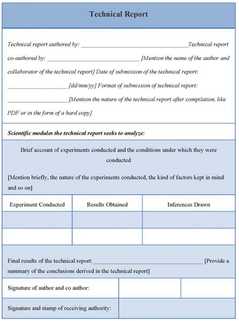 sample technical reports