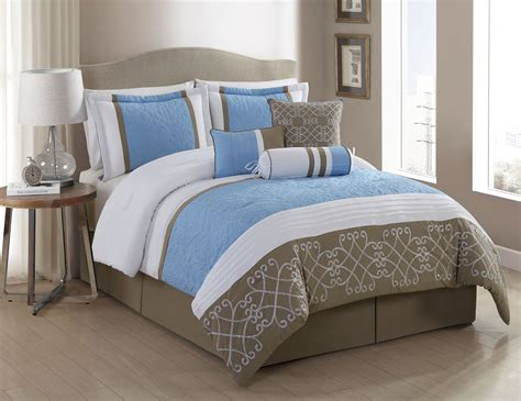 7 piece georgina blue white taupe comforter set