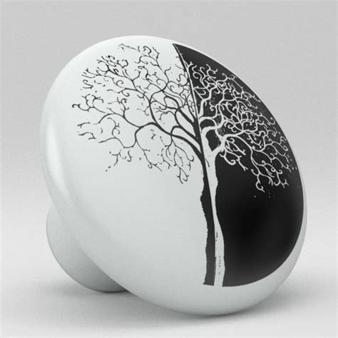 modern black and white tree ceramic knobs pull kitchen