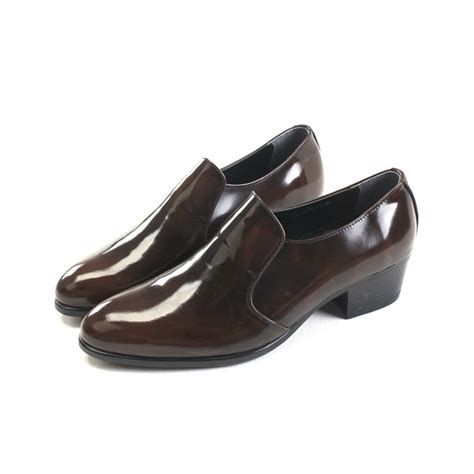 high loafers s brown cow leather high heel loafers