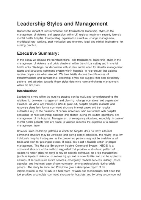 Leadership Styles Essay by Leadership In Nursing Essays Nursing Essay On Leadership Exle Transformational Leadership