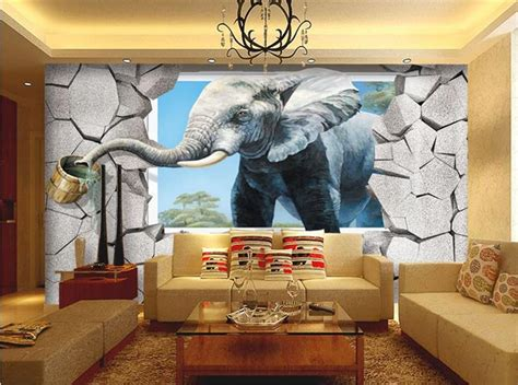 custom 3d elephant wall mural personalized giant photo popular drinking water photos buy cheap drinking water