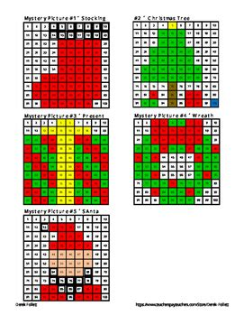 math    chart christmas mystery pictures coloring tpt