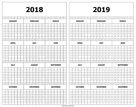 printable calendar 2018 at a glance calendar 2018 and 2019 printable free 2 year at a glance