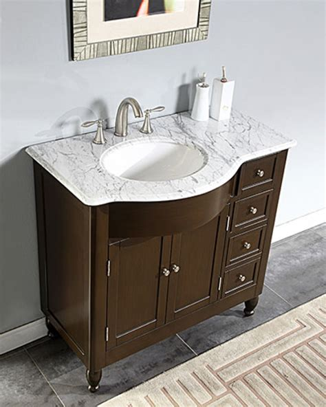 38 Inch Bathroom Vanity 38 Inch Modern Single Bathroom Vanity With White Marble Top Uvsr0902wm38