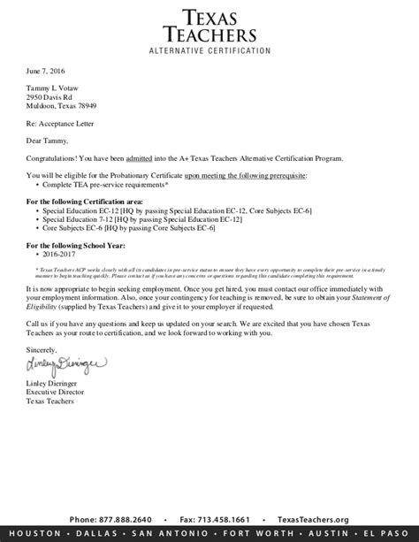 Acceptance Letter For Phone Acceptance Letter Phone 8778882640 O Fax 7134581661 Texasteachersorg H U S T N Acceptance