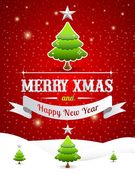 free merry christmas happy new year poster template 2 on