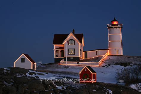 christmas at nubble light cape neddick maine lori a