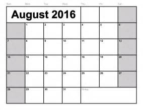 2016 Monthly Calendar Template by Free Printable Blank Monthly Calendar 2016 Calendar