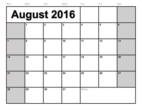 Kalender 2016 Blanko August 2016 Calendar Printable Template 6 Templates